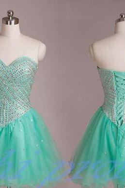 Mint Green Homecoming Dress,Tulle Homecoming Dresses,Sweetheart Homecoming Gowns,Short Prom Dress,Beading Prom Dresses,Cute Sweet 16 Dress,Corset Evening Dresses For Teens
