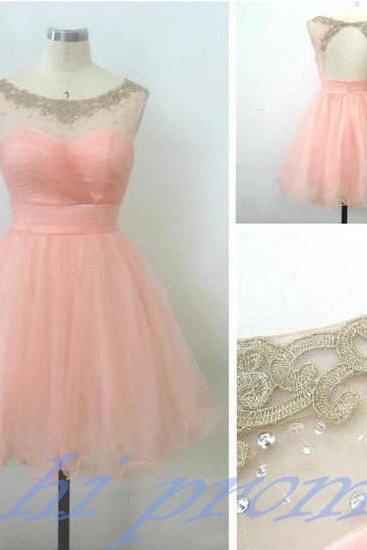 Pearl Pink Homecoming Dress,Short Homecoming Dress,Backless Party Dresses,Open Back Prom Gown,Tulle Homecoming Dresses,Open Backs Prom Dress,Simple Parties Gowns,Beaded Sweet 16 Dress,Evening Gown