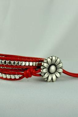Red Leather Wrap Bracelet with Pewter Beads and a Sunflower Closure, Triple Wrap Bracelet. Teen Bracelet, Unique Gift Idea, Free Shipping