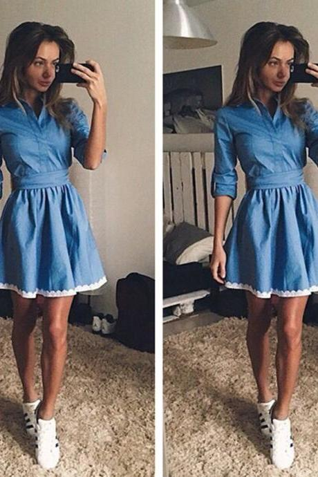 Blue Short Denim Button Down Casual Dress with Lace Trim Hem