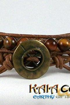 Unisex Red Tiger Eye Leather Wrap Bracelet with Bronze Closure, Leather Jewelry, Great Gift Idea, Free Shipping