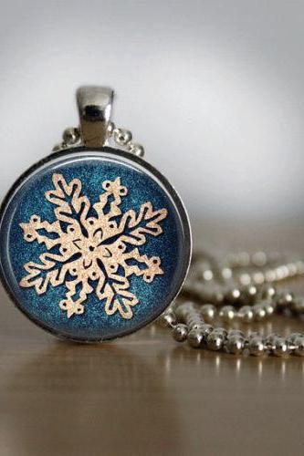 Christmas Necklace Christmas Jewelry Glass Tile Necklace Snowflake Jewelry