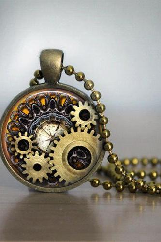 Glass Tile Necklace Steampunk Necklace Bronze Jewelry Glass Tile Jewelry