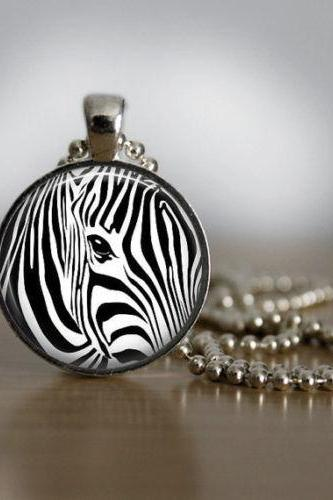 Glass Tile Necklace Zebra Print Necklace Animal Jewelry Zebra Jewelry Glass