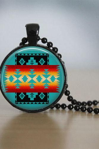 Glass Tile Necklace Native American Jewelry Southwestern Necklace Glass Tile