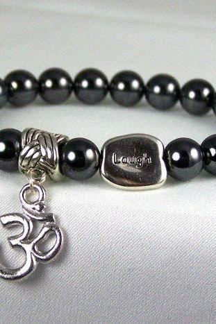 Optimistic Hematite Meditation Bracelet with Ohm and Laugh Accents, Energy Bracelet, Yoga Bracelet, Free Shipping