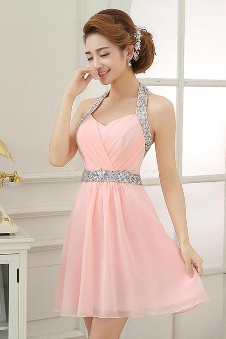 Glittering Halter Beading Short Homecoming Dress, Homecoming Dresses,Prom,Sweet 16