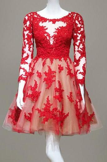 Real Made Red Lace O-Neck Homecoming Dresses, Long Sleeve Graduation Dresses ,Homecoming Dresses, Short/Mini Homecoming Dress On Sale