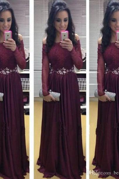 New Arrival Long Sleeve Floor-Length Charming Prom Dresses ,A-Line Lace Floor-Length Evening Dresses, Prom Dresses, Real Made Prom Dresses On Sale