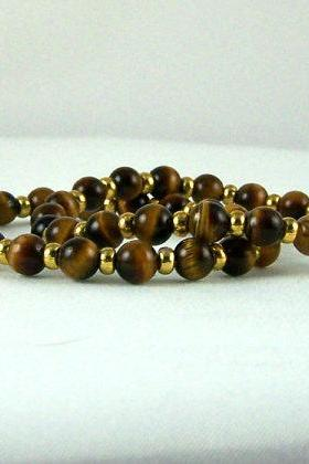 Ladies Tiger Eye Energy Bracelet SET, Yoga Bracelet, Meditation Bracelet, Fashion Bracelet, Free Shipping, Unisex