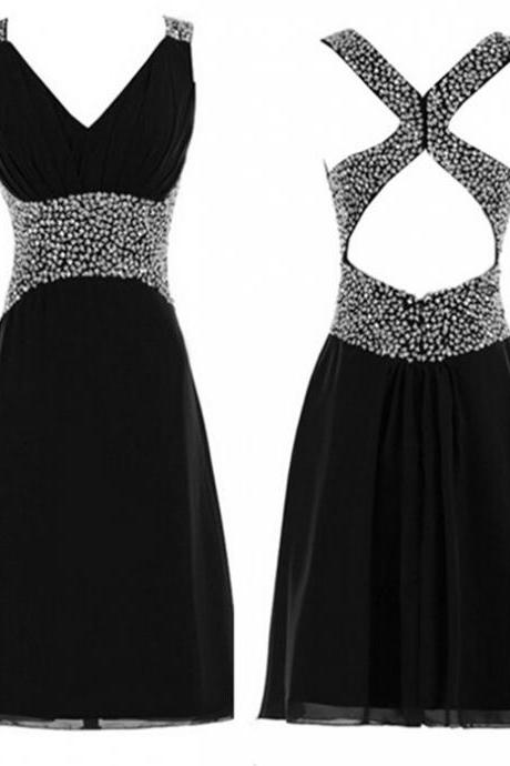 Beading Homecoming Dresses ,V-Neck Graduation Dresses Homecoming Dress, Short/Mini Chiffon Homecoming Dress