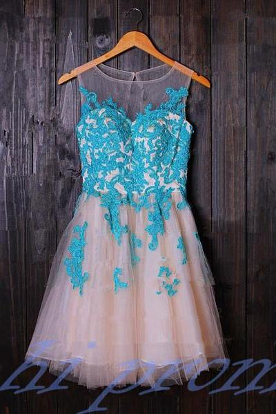 Turquoise Homecoming Dress,Tulle Homecoming Dress,Cute Homecoming Dress,Lace Homecoming Dress,Short Prom Dress,Blush Pink Homecoming Gowns,2015 Sweet 16 Dress