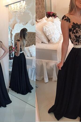 Cap Sleeve Prom Dress Black Prom Dress Elegant Prom Dress Evening Dress Formal Prom Dress Pleating Prom Dress