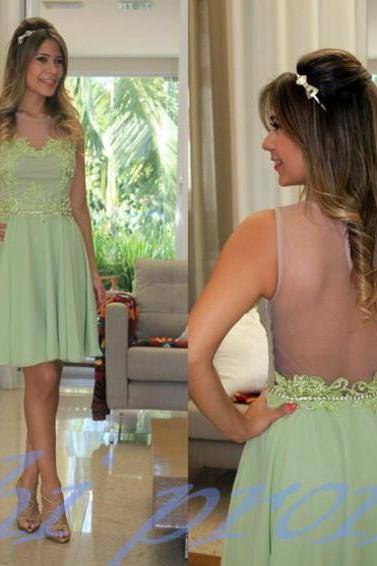 Sage Homecoming Dress,Chiffon Homecoming Dress,Cute Homecoming Dress,Lace Homecoming Dress,Short Prom Dress,Tulle Homecoming Gowns,2015 Sweet 16 Dress,Backless Homecoming Dress,Open Backs Casual Parties Gowns