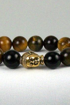 Tiger Eye Energy Bracelet, Increases Willpower, Yoga Bracelet, Meditation Bracelet, Free Shipping, Unisex, Great Gift Idea