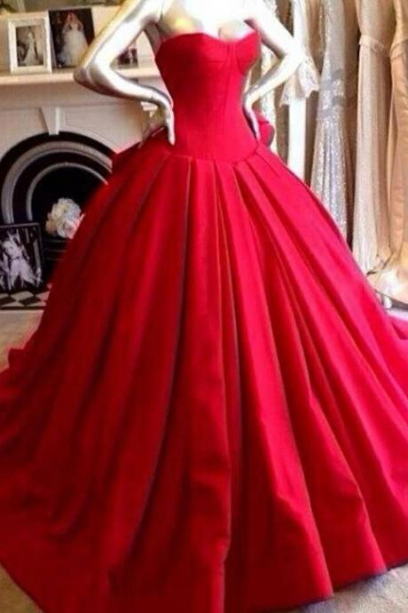 Custom Made Red Sweetheart Neckline Long Ball Gown Prom Dresses, Red Prom Dresses, Prom Dresses 2015 Satin Red Wedding Dresses