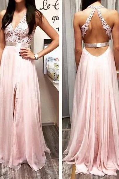 Custom Made A Line Round Neckline Backless Prom Dresses Formal Dresses Evening Dresses