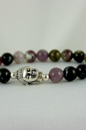 Lucky Tourmaline Meditation Energy Bracelet with Buddha accent bead, Yoga Bracelet, Free Shipping, great gift Idea