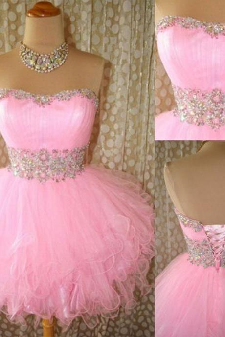 Sweetheart A-Line Strapless Mini Homecoming Dress,Short Cocktail Dress,Homecoming Dress,Dresses For Prom, Party Dresses