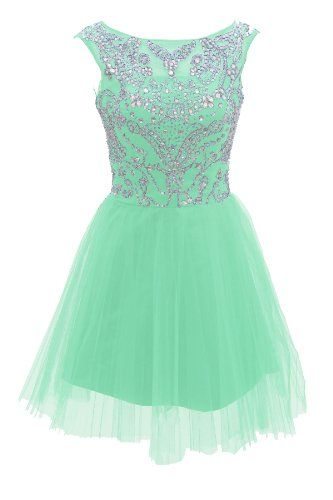 Short Mint Prom Dresses 2015 New Style A Line Silver Beads Spakle Tulle Homecoming Dress For Teens