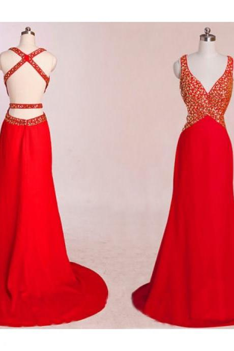 Red Backless Dress, Mermaid Prom Dresses, Red Prom Dress, Unique Prom Dresses ,Sexy Prom Dresses ,Prom Dresses, Popular Prom Dresses, Dresses For Prom P-1