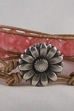 Rose Quartz Leather Wrap Energy Bracelet, Great Gift Ideas, Free Shipping