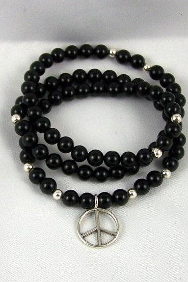 Black Onyx Energy Bracelet or Necklace with Sterling Silver Peace Charm, Meditation Bracelet, Yoga Inspired