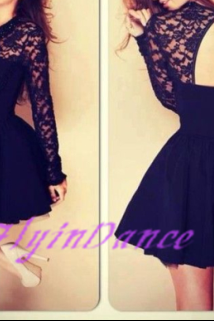 2015 New Style Black Halter Stitching Lace Dress Backless Homecoming Dresses Prom Dresses