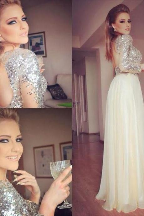 Glitter Sparkly Long Prom Dress, Sequined Prom Dress, Senior Formal Dress, Sexy Prom Dress, Long Sleeve Prom Dress, Champagne Prom Dresses, Prom Gowns 2016 With Side Slit