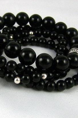 Black Onyx Meditation Bracelet SET with Charms, Great Gift Idea, Yoga Bracelet, Energy Jewelry, Free Shipping