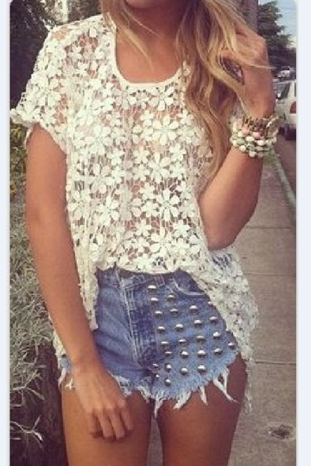 Casual round neck short sleeve lace shirt #AD9701Y