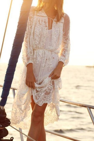 Fashion Printing White Lace Flounced Dress HGH202
