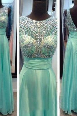 Round Neck Long Prom Dresses,Evening Dress Beading Prom Dress Custom prom dress,A Line prom dresses L063