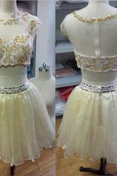 Two Pieces Prom Dress Round Neck Prom Dresses Homecoming Prom Dress Beading Prom Dress H001