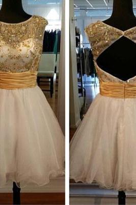 A Line prom dresses,Round Neck Prom Dresses Hollow Back Prom Dress Homecoming Prom Dress H005