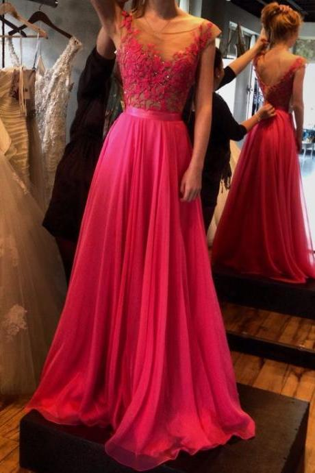 Charming Prom Dress Appliques Prom Dress A-Line Prom Dress Chiffon Prom Dress Long Prom Dress