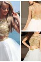 Two Pieces Prom Dress Hollow Back Prom Dress Homecoming Prom Dress Beading Prom Dress H009