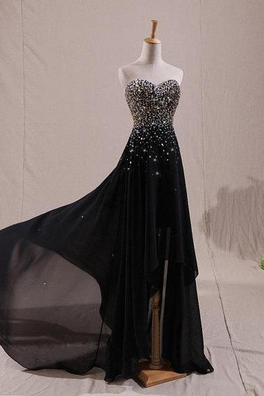 Black Bridesmaid Dresses, Sweetheart Bridesmaid Dresses, Beading Bridesmaid Dresses ,Long Prom Dresses, A-Line Prom Gowns ,Party Dresses, Evening Dresses , Formal Dresses