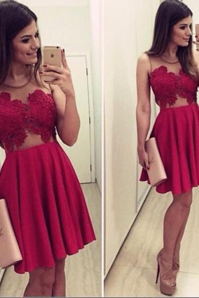 Sexy prom dress Red prom dresses,Custom prom dress,A Line prom dresses,Round Neck Prom Dresses Homecoming Prom Dress L153