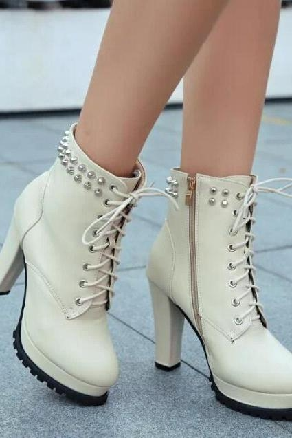 Fashion and elegant rivet with Martin boots and short boots-beige
