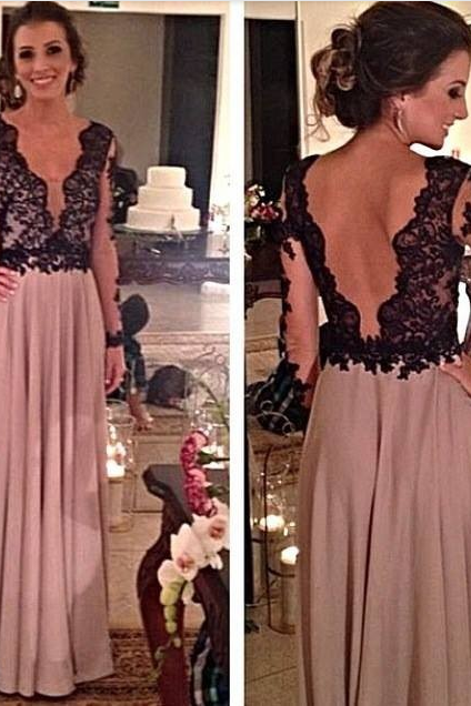 Prom Dress,V-Neck Prom Dress,A-Line Prom Dress,Long Sleeve Prom Dress,Chiffon Prom Dress,Backless Prom Dress