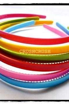 12pcs 8mm COLOR PLASTIC Headbands. Wholesale lot H18