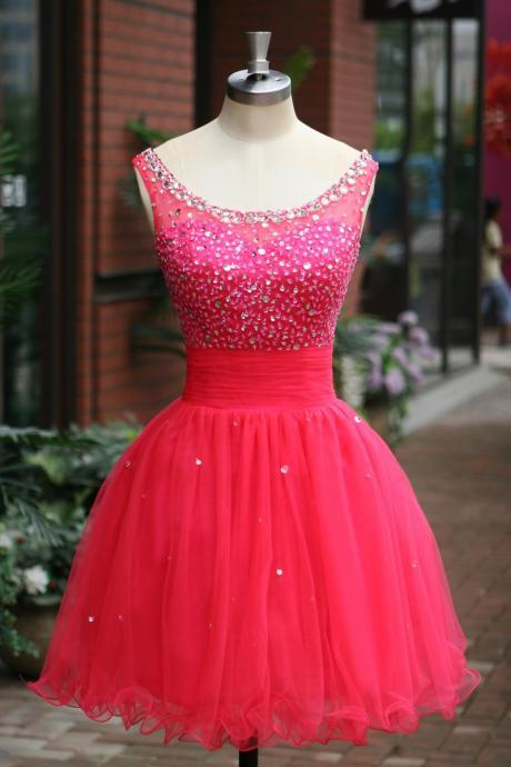 Elegant Sleeveless Pink Tulle Short Prom Dress, Party Dresses, Evening Dresses, Cocktail Dress, Homecoming Dresses