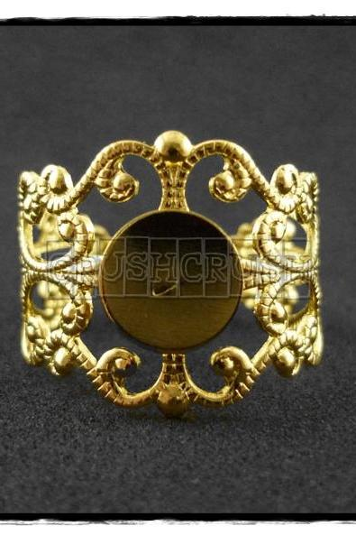 10pcs Gold Filigree Adjustable Ring Blank Findings With Pad 8mm C58