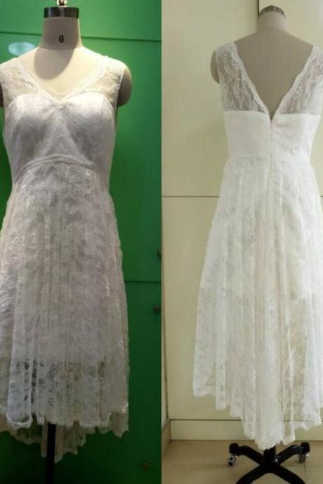 Vintage A-Line Hi-Lo Lace Short Beach Wedding Dresses 2015 New Bridal Gown V Neck Backless Vestido De Novia Wedding Party Gowns