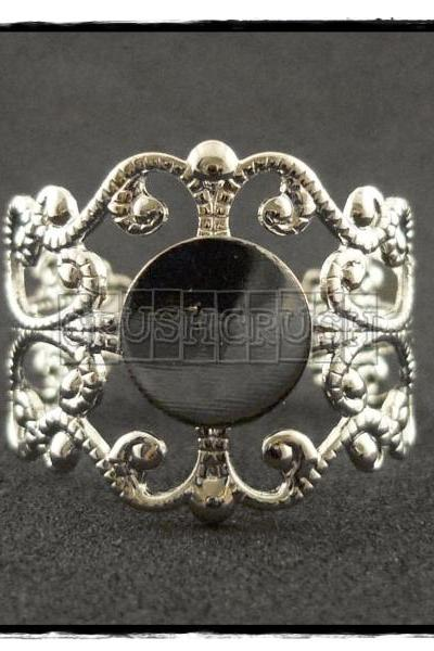 10pcs Silver Filigree Adjustable Ring Blank Findings With Pad 8mm C55