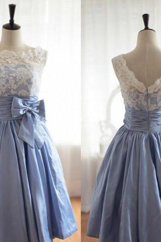 Handmade A-Line Sleeveless Knee Length Taffeta Lace Cheap Prom Dress, 2016 Evening Dress With Bow Prom Dresses 2016 Bridesmaid Dresses