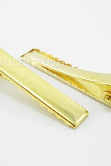 25pcs 55mm GOLD Alligator hair clip with Teeth C47