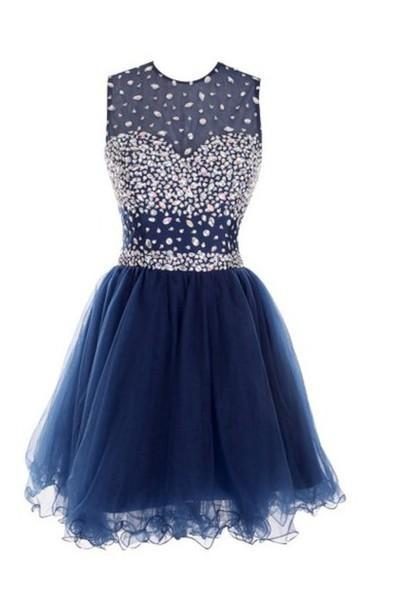 Custom Made A Line Round Neck Short Dark Blue Prom Dresses
