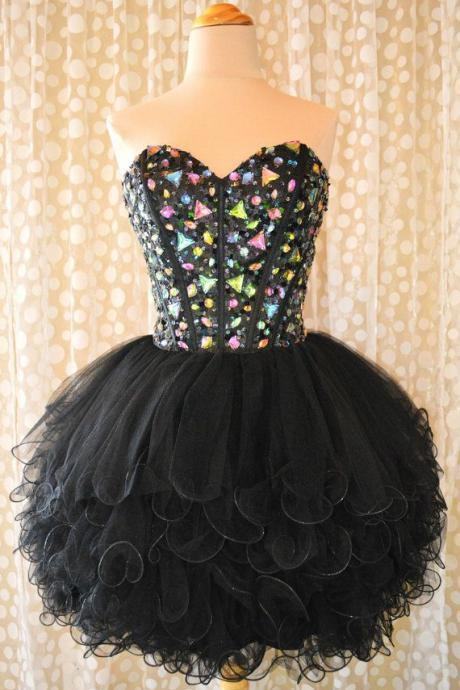 Custom Made Short Black Sweetheart Neck Prom Dresses, Short Black Homecoming Dresses
